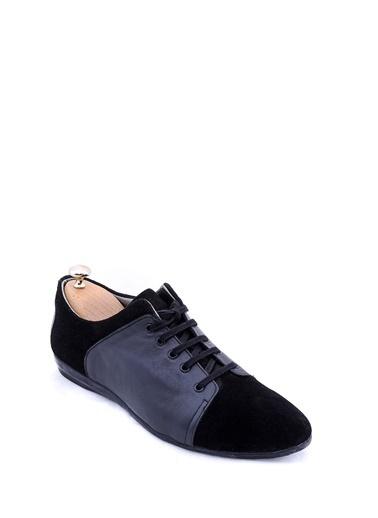 Wessi Erkek Deri Armalı Bağcıklı Rugan Ayakkabı Siyah